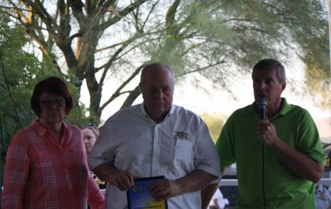 Fred and Barbara Holmes recognized by Paul Linder