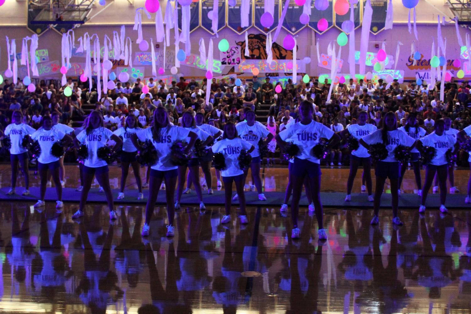 Wildcat+Cheerleaders+taught+the+Alma+Mater+at+the+Welcome+Back+Rally.