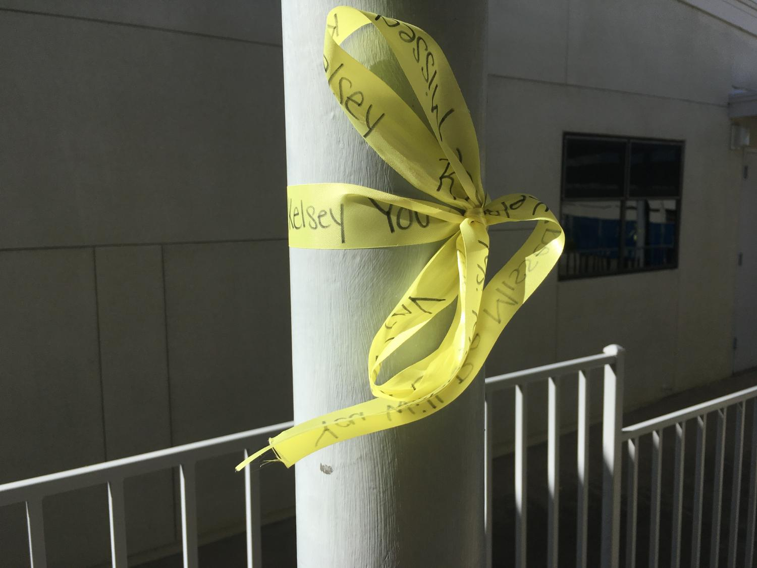 Yellow ribbons containing messages and prayers were placed on campus by Human Element.