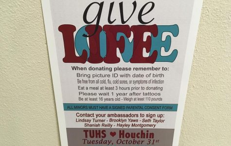 Posters with information about the Blood Drive can be found on campus.