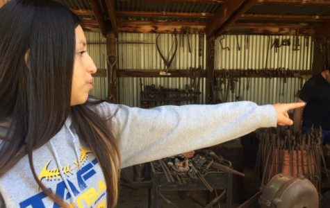 Oil Tech Sophomore Yasmin Cisneros pointing to one of the blacksmith tools while she described the display.