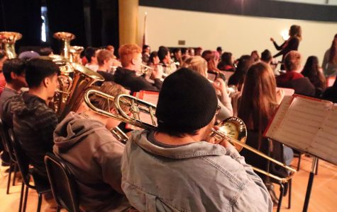 Band rehearsing for the concert