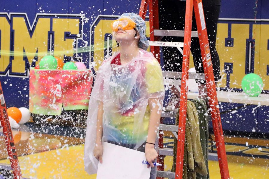 Sophomore+student+gets+slimed+at+the+rally.