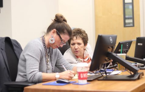 Supt. Blanca Cavazos and Julie Gragg conversing at the January regular board meeting.
