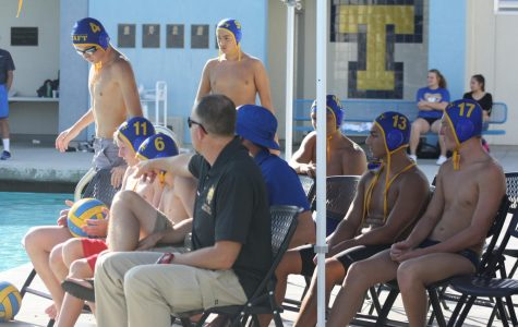 The Taft High water polo team next to the pool.
