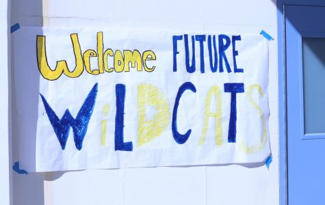 Signs welcomed 8th graders to preview day.