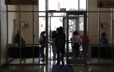 Students leaving with their parents/guardians in a steady stream Monday afternoon.