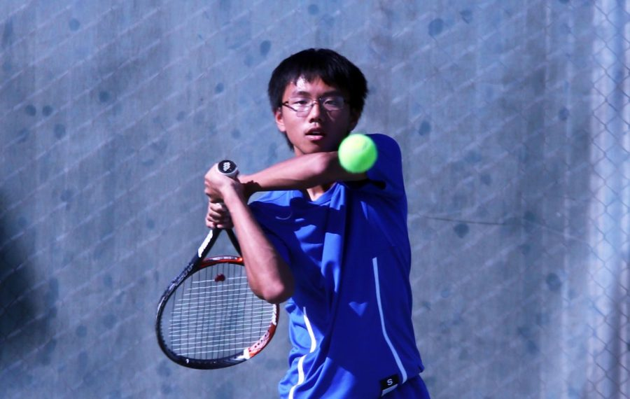 Tyler Nguyen battling for the win at home on Monday.