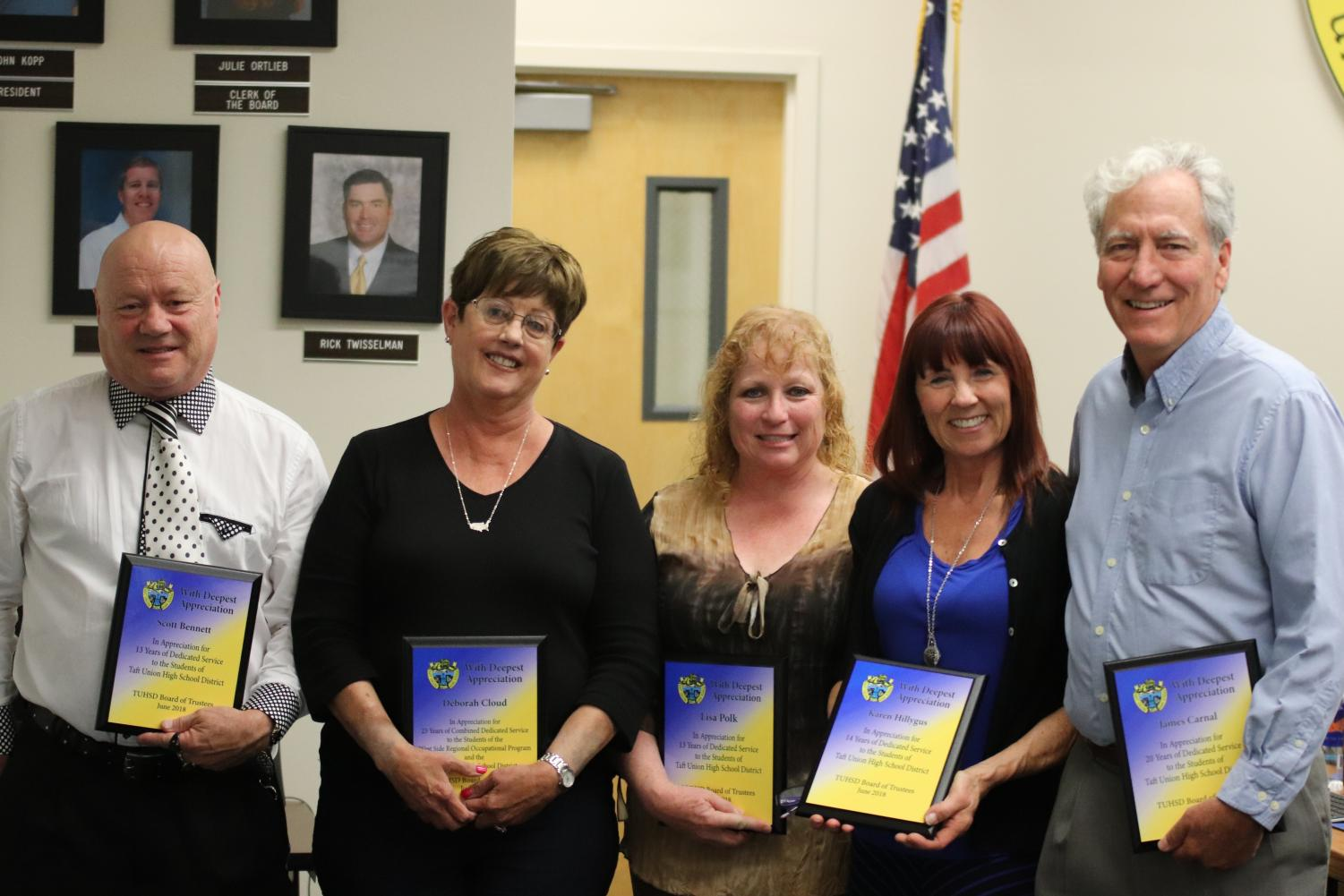 Scott Bennett, Debbie Cloud, Lisa Polk, Karen Hillygus, and Jim Carnal received plaques representing years of dedication to teaching at the Taft Union High School District during the May board meeting  (not present/pictured: David Skowron, Julee Skowron, Bennett Johnson, Gene Conners, and Harold Heiter)
