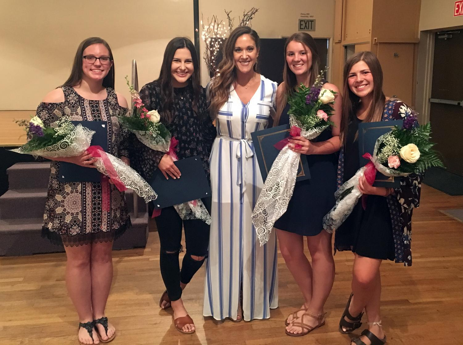 Emmy Lou Heber, S-Club Adviser, and the award recipients: Alison Moon (Grade 12), Madison Jordan (Grade 11), Regan Barnachia (Grade 10), and Emalyne Davis (Grade 9)
