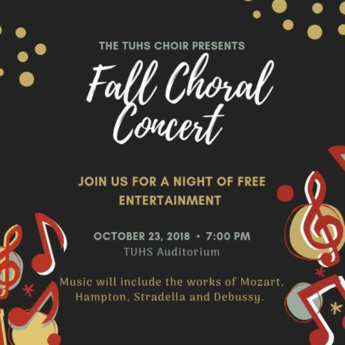 Fall concert will be held Oct. 23 in the TUHS auditorium.
