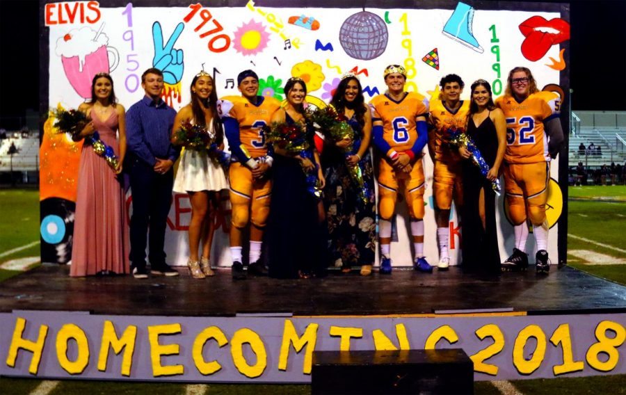 The+2018+Homecoming+court+posed+for+pictures+after+the+crowning+of+Millie+Reynoso+as+Homecoming+Queen.+Jackson+Van+Roekel+was+crowned+King+at+the+Powderpuff+game.