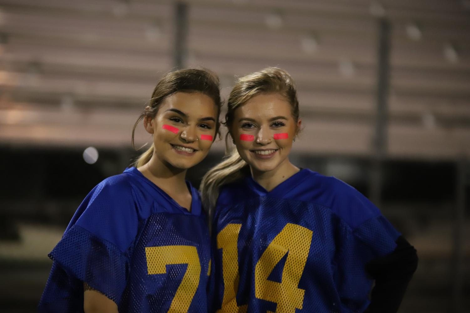 Blue team members Grace Armstrong and Kloie Malone looking ready to play. Their team ended up winning the game.