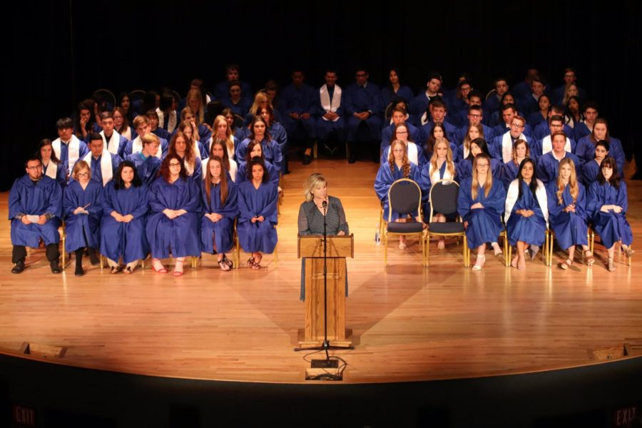Mary+Alice+Finn+introduces+the+seniors+during+Honors+Night+2018.+This+was+taken+at+last+year%27s+ceremony.