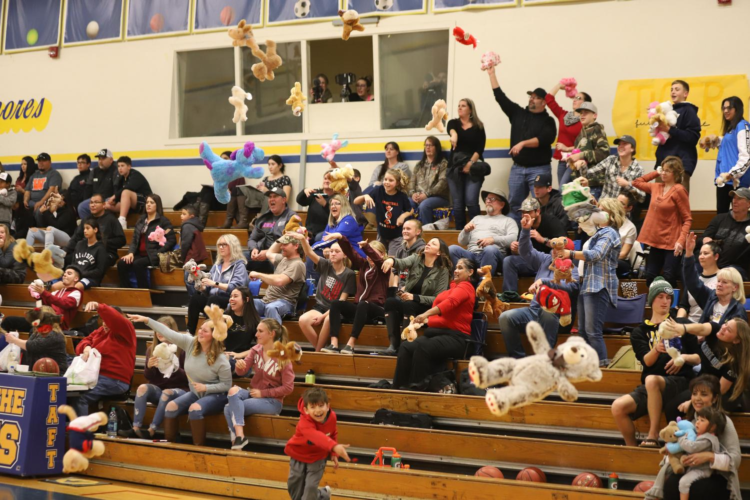 For one of the A.V.I.D Senior projects, a Teddy Bear toss was put in action.