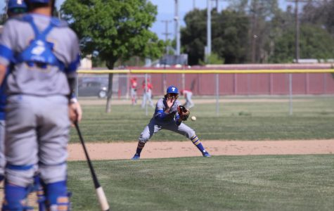 Skyler Self ready to catch a ground ball that caught some air.