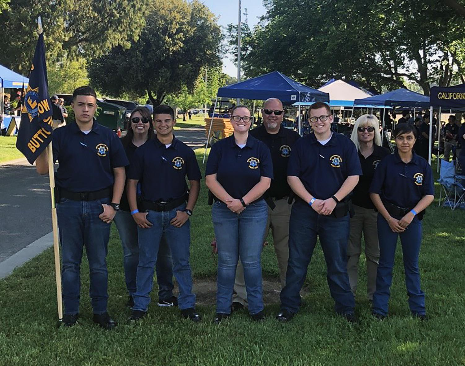 Post 426 explorers smile for the camera. This year the post brought five explorers to the CHP Academy to compete in an annual competition. Members listed from left to right: Sergio Gomez, Michael White, Makenna Kirby, Hunter Thomas, and Leslie Hinojosa. Advisers photographed: Suzanne White, Tommy White, and Korina Rawls.