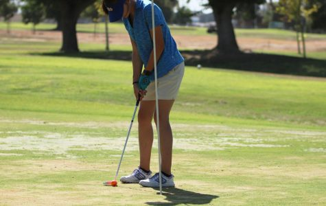 Briley Wheeler putting the ball into the hole. Wheeler is a senior this year.