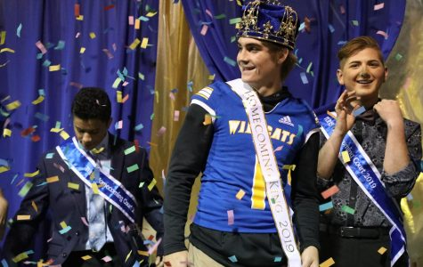 Confetti and skydivers fly at Homecoming festivities