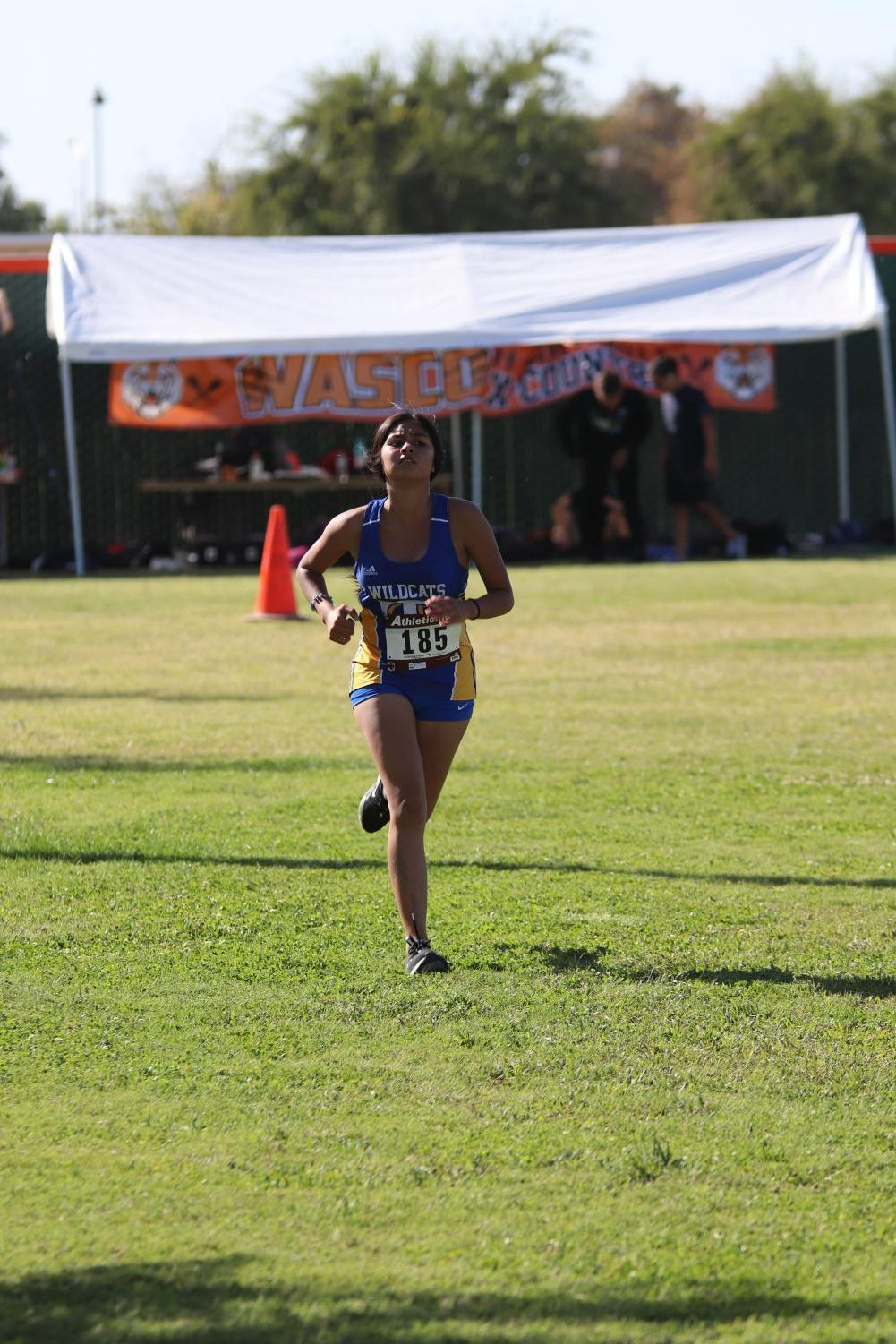 Junior, Kimberly Rivera in the final stretch of the Wasco Invitational.