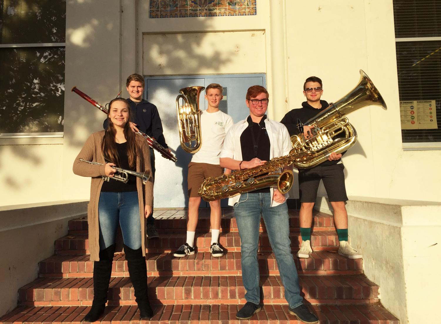From left to right: Nathaniel Morris, Taylor Reed, JD Frakes, Presley Golling, and Richard Posey. These five students will be a part of the Honor Band and Orchestra for Kern County.