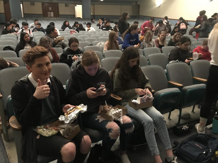 Jeb+Burke+and+the+rest+of+the+seniors+had+lunch+together+in+the+auditorium.+The+shelter+call+was+made+during+the+senior+class+meeting.