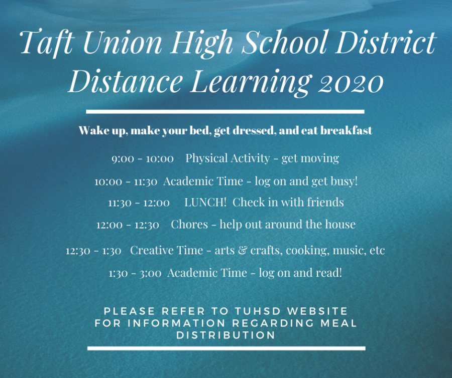 This is Taft High's Distance Learning Flyer that teachers and students could follow during online school.