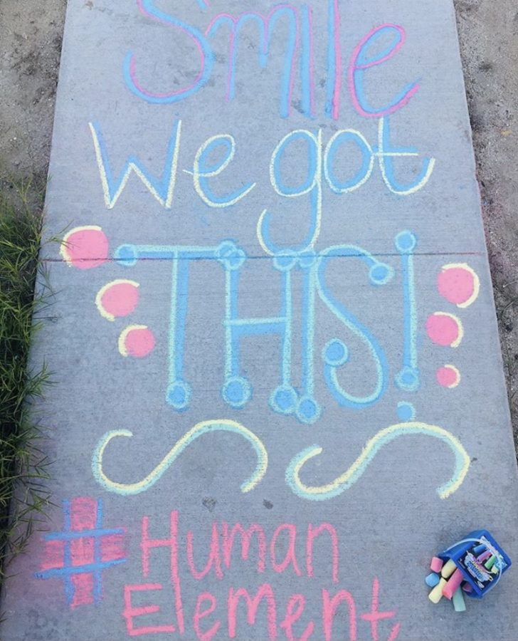 Human Element student spreading love with an encouraging message.