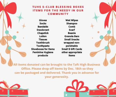 List of items that the S-Club has asked our community to donate.