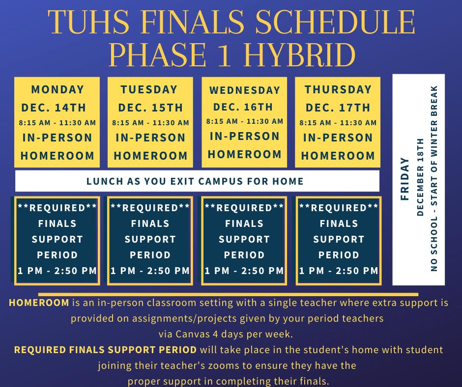 T.U.H.S phase 1 hybrid schedule Dec 14th to Dec 17th, 2020