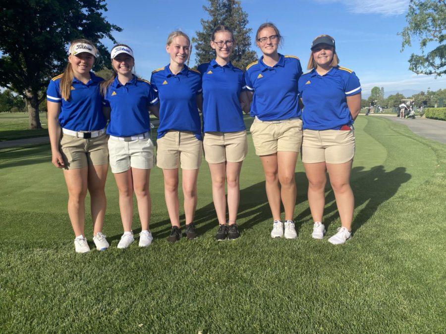Girls golf team; (from left to right) Macayla Wells, Trenadee Price, Rylee Dodson, Chloe Dodson, Willow Pilgrim, Lexi Blackburn