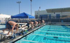 Swim team practicing